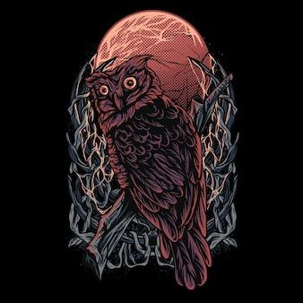 Eulen dunkelheit illustration