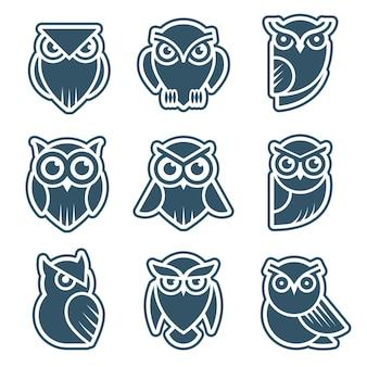 Eulen-logo. stilisierte wildtiersymbole vogelgesicht mit federn vektor moderne identitätsvorlagen. eulentier, wildes symbol stilisiert für tätowierungsgrafikillustration
