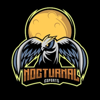 Eulen-nacht-esport-logo, nächtliche maskottchen-illustration mit mondhintergrund