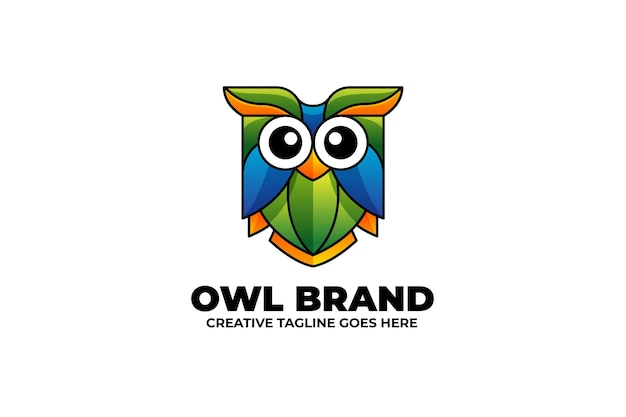 Eulen-vogel-maskottchen-logo im aquarell-stil