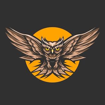 Eulenfliegen in der nacht über dem mondvektorillustrationsentwurf