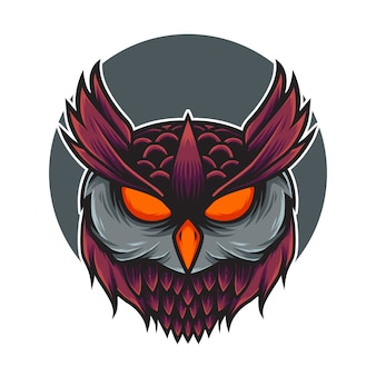 Eulenkopf logo maskottchen illustration
