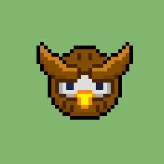 Eulenkopf mit pixel-art-stil