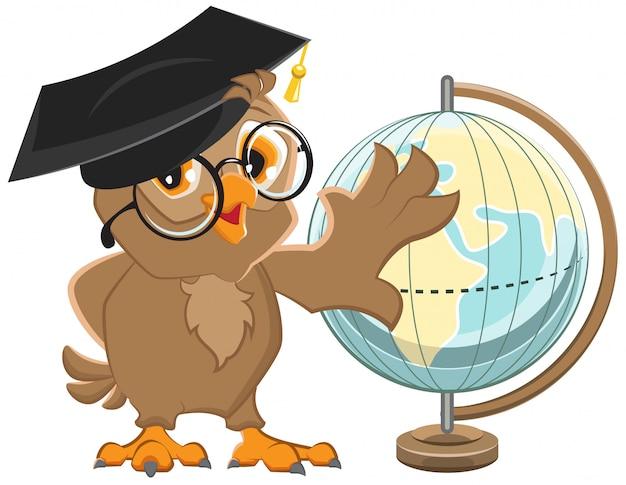Eulenlehrer dreht globe