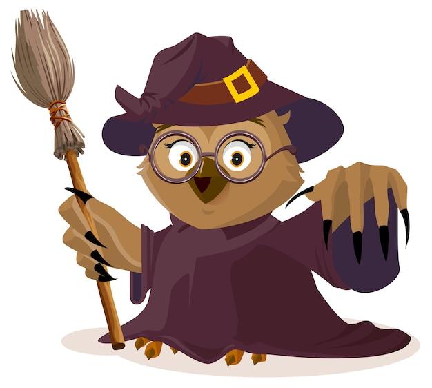 Eulenlehrer im halloween-kostüm. isoliert auf weißer karikaturillustration