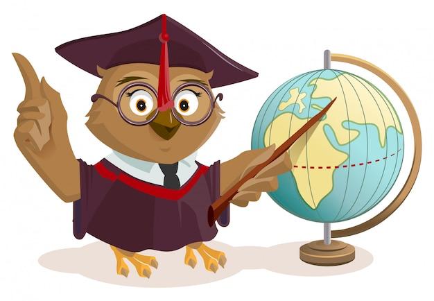 Eulenlehrer und globus