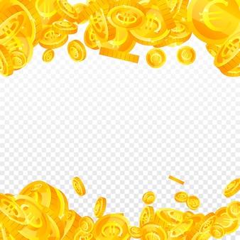 Euro-münzen der europäischen union fallen. empfindliche verstreute eur-münzen. europa geld. ordentliches jackpot-, reichtums- oder erfolgskonzept. vektor-illustration.
