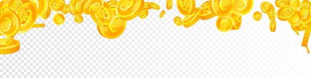 Euro-münzen der europäischen union fallen. klassische gestreute eur-münzen. europa geld. attraktives jackpot-, vermögens- oder erfolgskonzept. vektor-illustration.