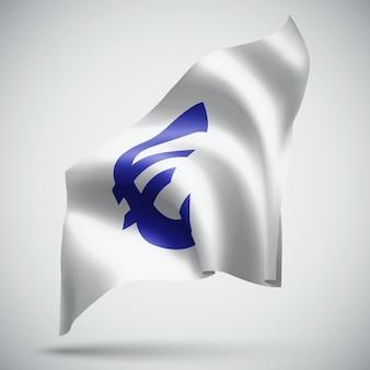 Euro-währung auf der flagge des vektors 3d lokalisiert auf weißem hintergrund