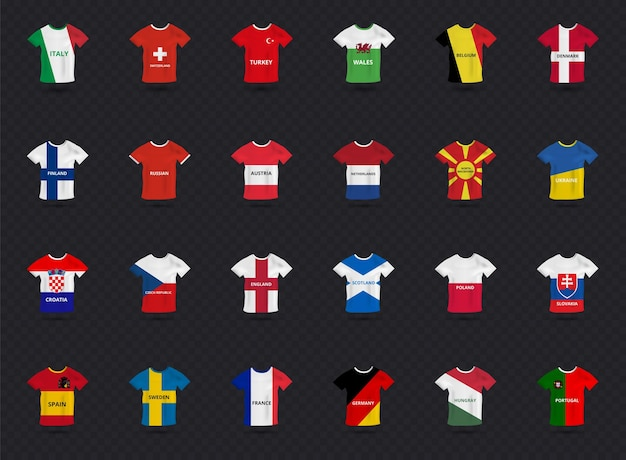 Eurocup-sportkleid für alle mannschaften mit landesflagge