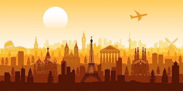Europa berühmte wahrzeichen silhouette stil