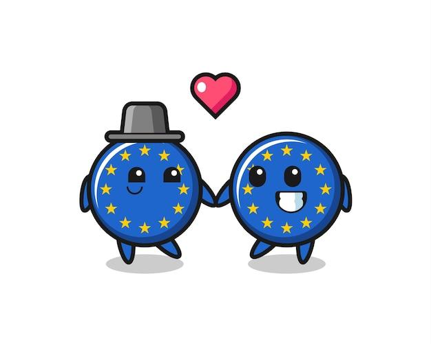 Europa-flagge-abzeichen-cartoon-charakter-paar mit sich verlieben geste, süßes design für t-shirt, aufkleber, logo-element Premium Vektoren