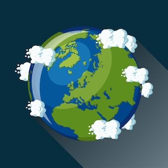 Europa karte auf dem planeten erde, blick aus dem weltraum