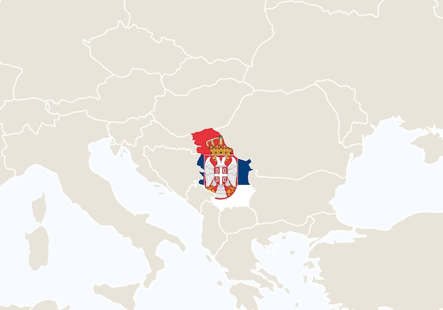 Europa mit hervorgehobener serbien-karte. vektor-illustration.