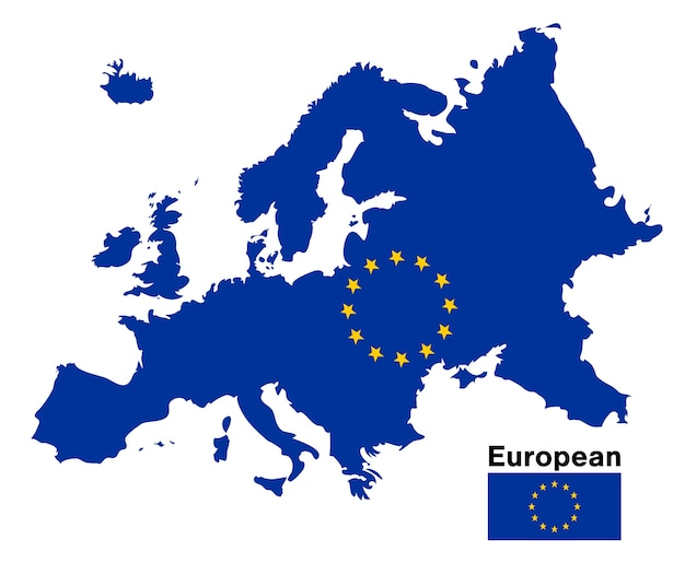 Europäische flagge karte auf einem weißen hintergrund