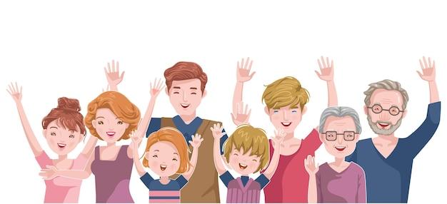 Europäische glückliche familie. vater, mutter, sohn, tochter, bruder, schwester, großvater und großmutter. weiße kaukasische gruppe mit heller haut.