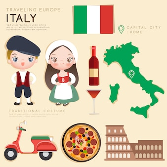 Europäische infografik mit traditionellen kostümen und touristenattraktionen.