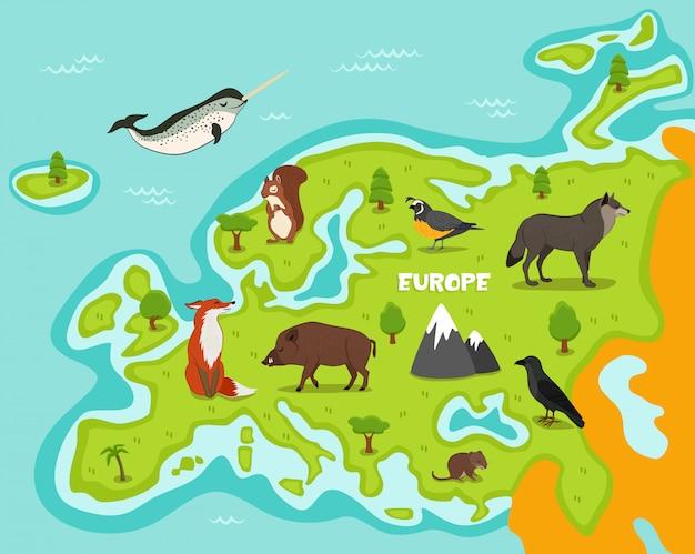 Europäische karte mit tieren der wild lebenden tiere