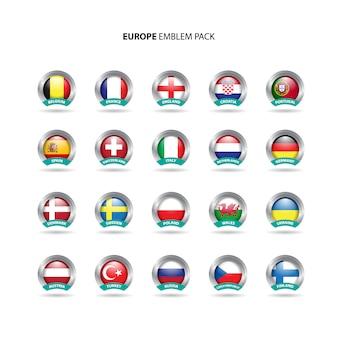 Europäische länder emblem pack