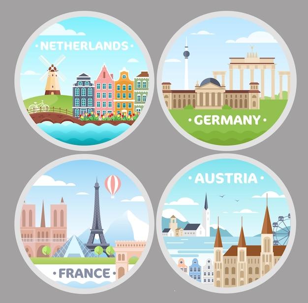 Europäische länder magnete flache illustrationen gesetzt. niederlande, frankreich, österreich, deutschland