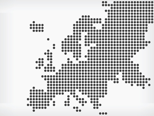 Europäische region karte pixelpunkte kontinent