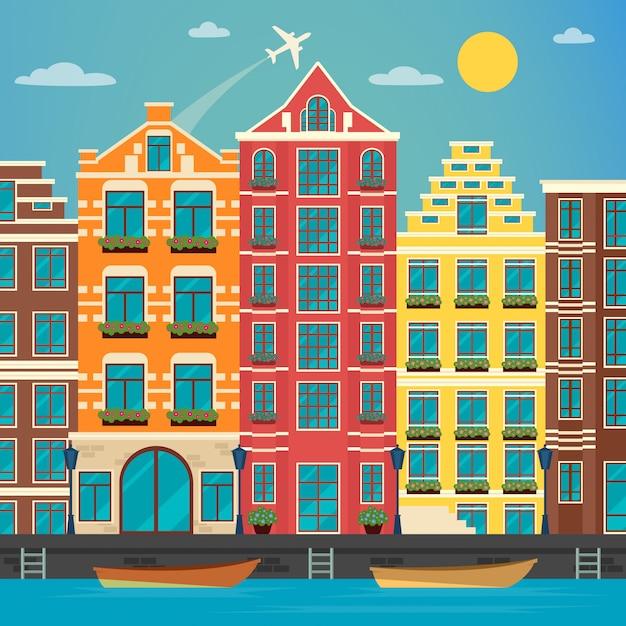 Europäische stadt. städtische szene. europäische architektur. vintage haus. fluss mit booten. vektor-illustration flacher stil