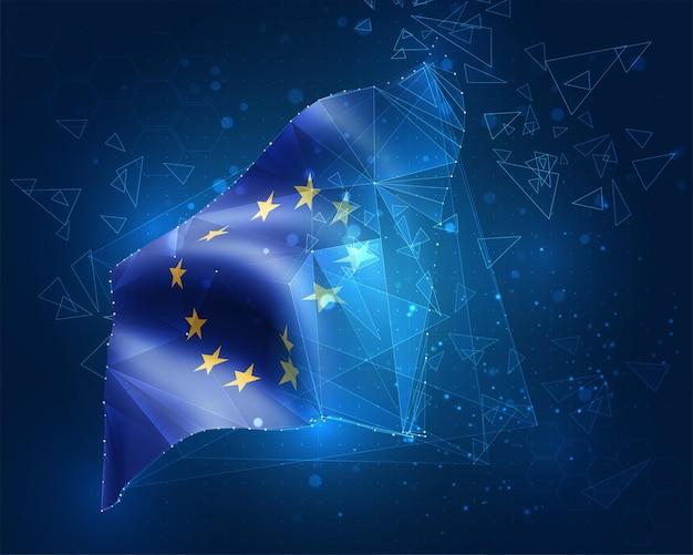 Europäische union, flagge, virtuelles abstraktes 3d-objekt aus dreieckigen polygonen auf blauem hintergrund