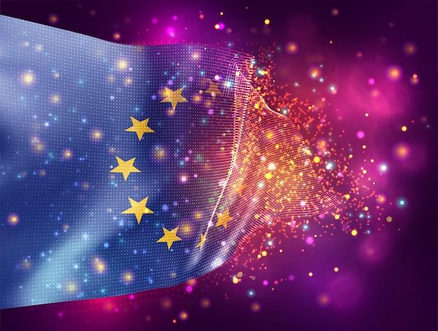 Europäische union, vektor-3d-flagge auf rosa lila hintergrund mit beleuchtung und fackeln