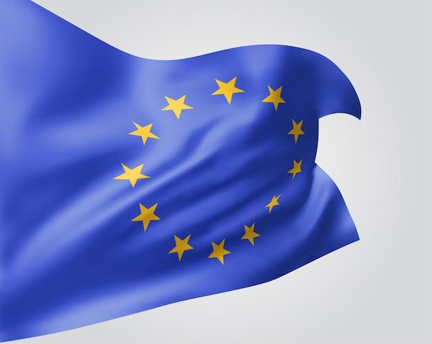 Europäische union, vektorflagge mit wellen und kurven im wind auf weißem hintergrund.