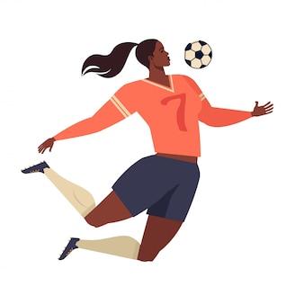 Europäischer fußball der frau, flache vektorillustration des fußballspielers.