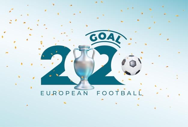 Europäischer fußballpokal 2020. realistisches grafikdesign des balls und des siegespokals