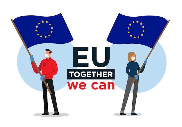 Europäischer mann und frau mit flagge der europäischen union, die menschen gegen das koronavirus ermutigen
