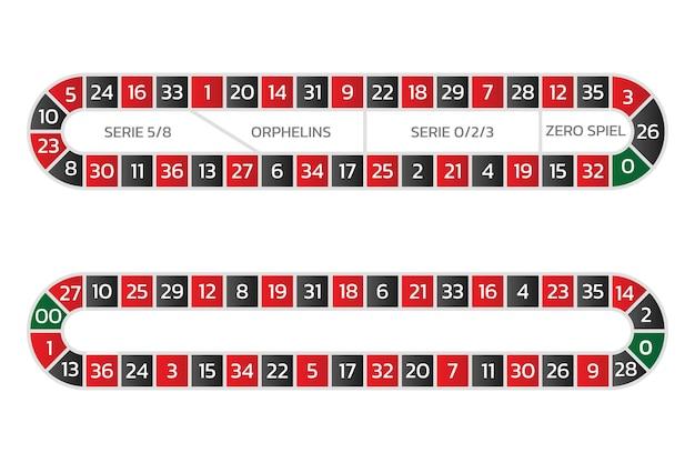 Europäischer und amerikanischer roulette-track für call-wetten auf zahlen und serien online-casino