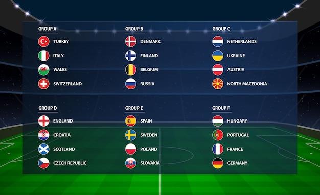 Europäisches fußballturnier alle gruppe. flagge der euro-fußballmeisterschaft