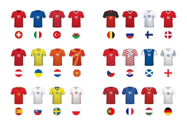 Europäisches fußballturnier set mit nationalen t-shirts und flaggen von fußballmannschaften