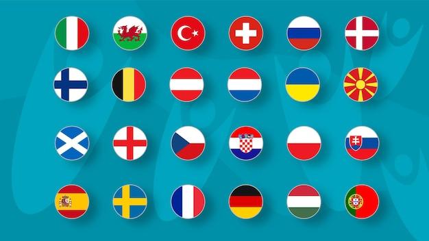 Europäisches fußballturnier set von nationalflaggen der fußballmannschaften