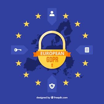 Europäisches gdpr konzept mit flachem design