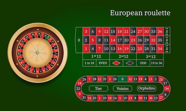Europäisches roulette und online-casino. reifenspur. flache artvektorillustration lokalisiert auf grünem hintergrund.