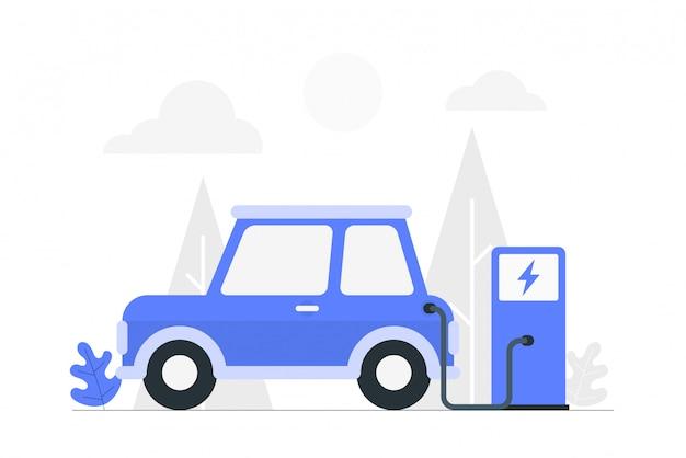 Ev elektroauto wird an der elektrischen ladestation aufgeladen.