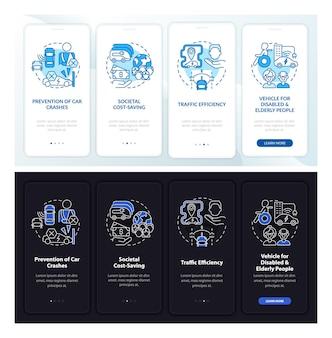 Ev-sicherheitsmomente beim onboarding der mobilen app-seitenseite. komplettlösung für hybridkäufe in 4 schritten mit grafischen anweisungen und konzepten. ui-, ux-, gui-vektorvorlage mit linearen tag- und nachtmodus-illustrationen