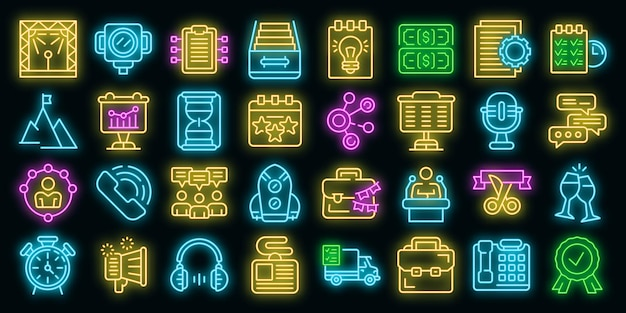 Event management icons set vektor neon