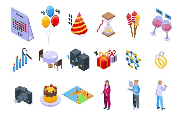 Event-planer-icons stellten isometrischen vektor ein. app-kalender