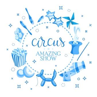 Event-tickets für eine zaubershow im cartoon-stil mit zirkuszeltflaggen