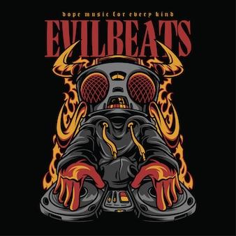 Evil beats hiphop style illustration