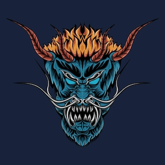 Evil oni mask illustration