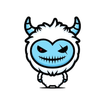 Evil yeti maskottchen character design