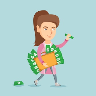 Executive manager mit aktentasche voller geld.