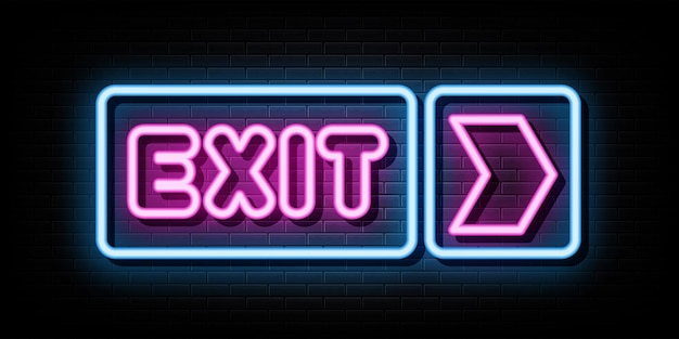 Exit neon signs vector design template neon style