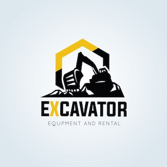 Exkavator und bagger-logo vektor-illustration
