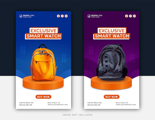 Exklusive digitale smart bags collection social media instagram post template